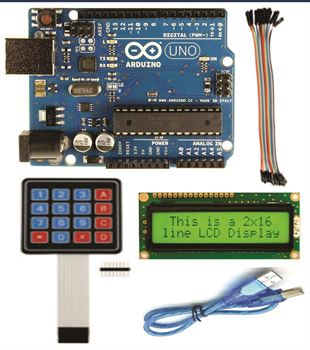 Picture of Arduino UNO with pack of( LCD ,Usb cable,keypad,20 female to female connector)